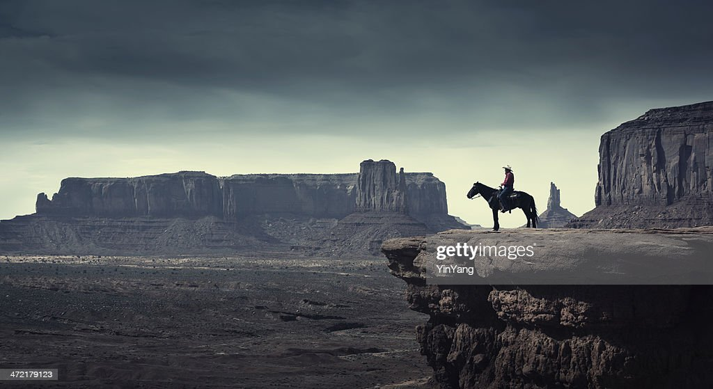 Native American Cowboy on Horse at Monument Valley Tribal Park : Stock Photo