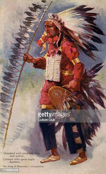 Native American dressed as Hiawatha Hiawatha a legendary figure was a follower of 'The Great Peacemaker' who united the Senecas Cayugas Onondagas...