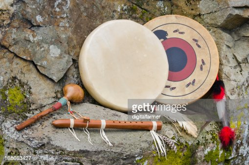 Native American Frame Drums, Flute and Shaker. : Stock Photo