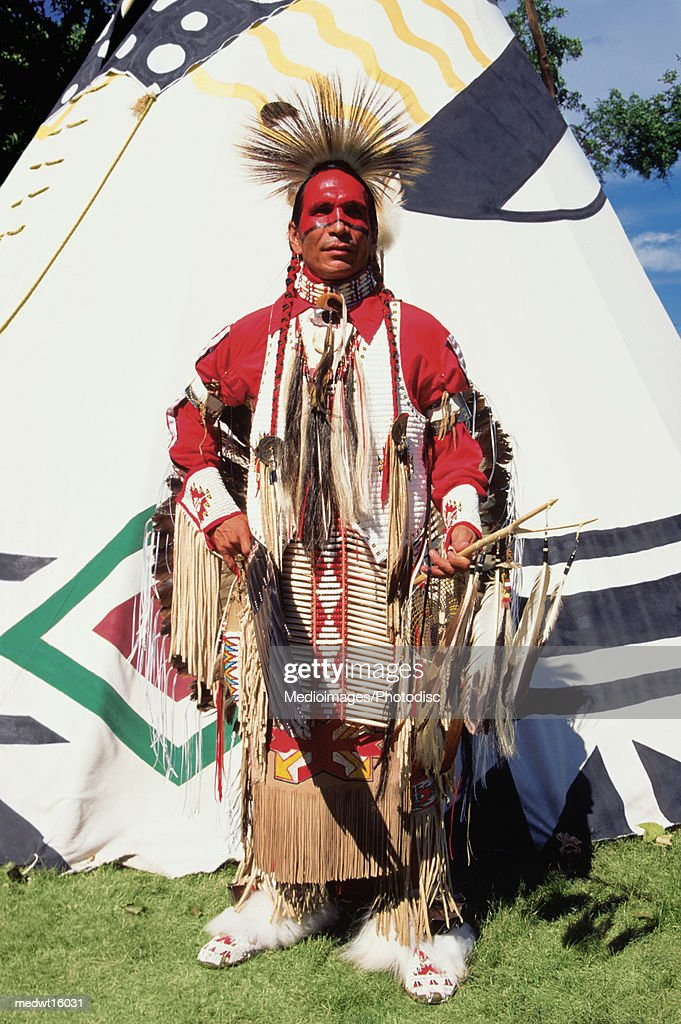 Native American in traditional garments at United Tribes Powwow in Bismarck, North Dakota USA
