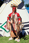 Native American in traditional garments at United Tribes Powwow in Bismarck, North Dakota USA