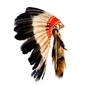 native american indian chief headdress (indian chief mascot, indian tribal headdress, indian headdress)
