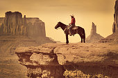 Native American Indian Cowboy on Horse in the Southwest Landscape