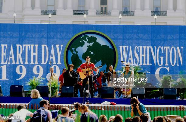 Native American musician Robby Romero of the group Red Thunder performs onstage an Earth Day rally on the US Capitol grounds Washington DC April 22...