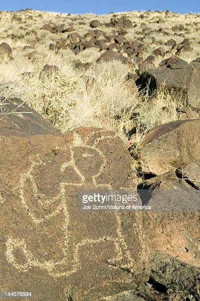 Native American petroglyphs at Petroglyph National Monument outside Albuquerque New Mexico