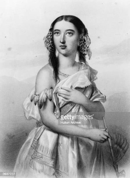 Native American princess Pocahontas in European dress but holding an arrow circa 1612