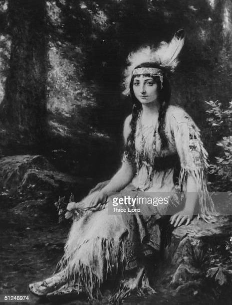 1614 Native American Princess Pocahontas wearing traditional attire at the time of her marriage to colonialist John Rolfe Original Artwork Painting...