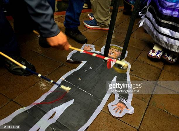 Native American protesters use coup sticks to jab at an effigy of President Trump in front of the Trump International Hotel on March 10 2017 in...