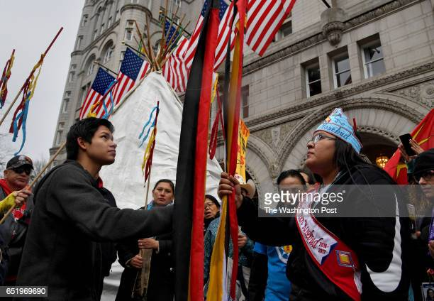 Native American protestors made a stop in front of the Trump International Hotel and put up a teepee to express their anger at the president Hundreds...