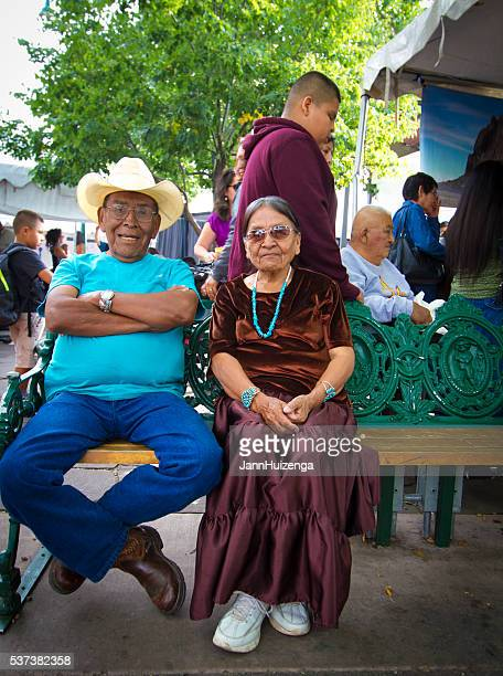 Native American Seniors on Bench; 2015 Santa Fe Indian Market