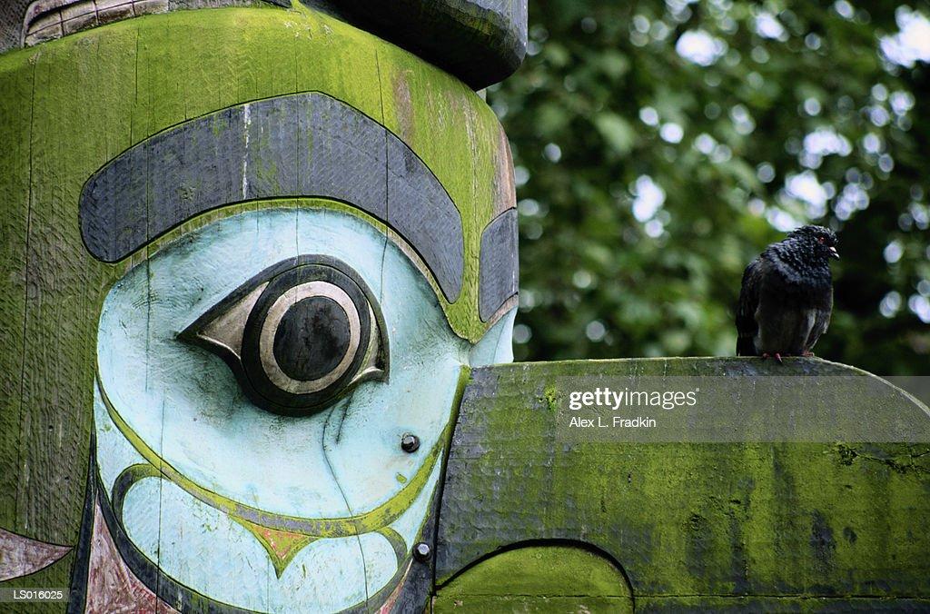 Native American totem pole, close-up