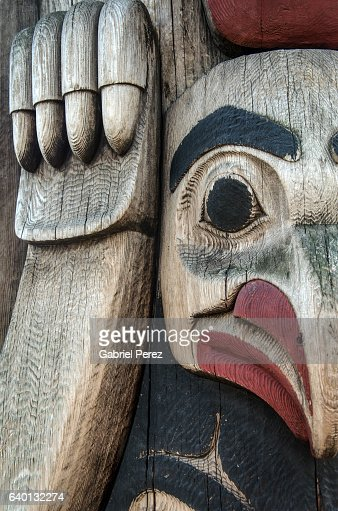 A Native American Totem Pole in downtown Seattle, Washington