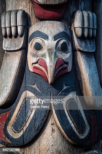 A Native American Totem Pole in popular downtown Seattle, Washington