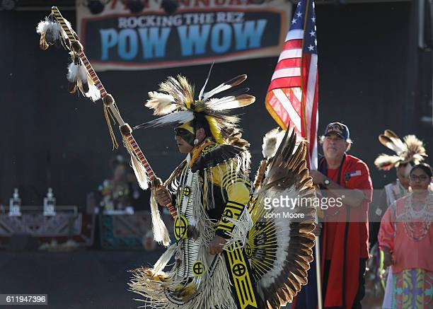 Native American veterans enter the 'Rocking the Rez' Pow Wow on October 1 2016 in Ysleta del Sur Pueblo Texas The pow wow held on the reservation...
