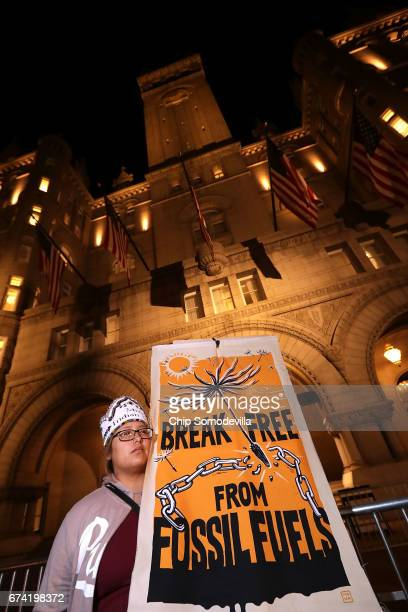 Native Americans and their supporters rally in front of the Trump International Hotel April 27 2017 in Washington DC Organized by The Indigenous...