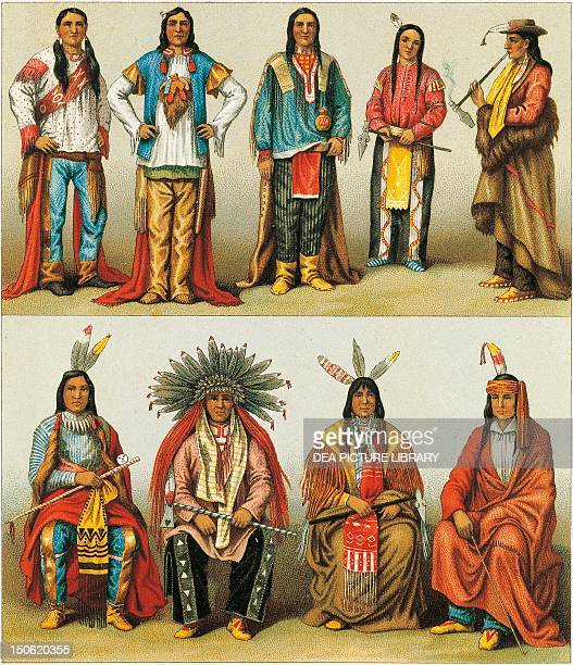 Native Americans of the Mississippi and Colorado lithograph by Nordmann and Sahn from Le Costume Historique Volume 2 by Auguste Racinet Native...