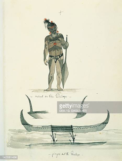 Native and canoes on the Island of Penelape watercolour by Lejeur from Duperrey's Voyage Polynesia 19th Century
