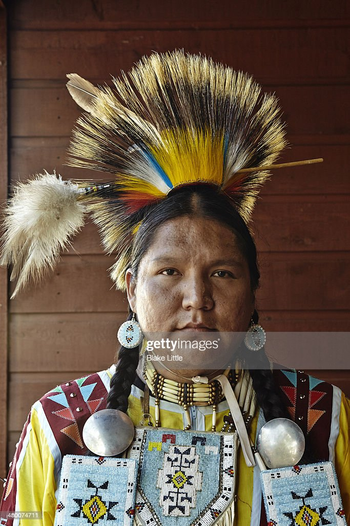 Native Canadian Chief traditional dress : Stock Photo