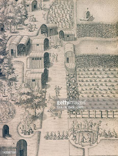 A native Indian village surrounded by cultivated land in Virginia engraving from American History by Theodore de Bry