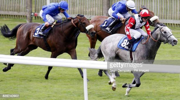 Native Khan ridden by Kieren Fallon goes on to win the European Breeders Fund Maiden Stakes during July Festival at Newmarket Racecourse Newmarket