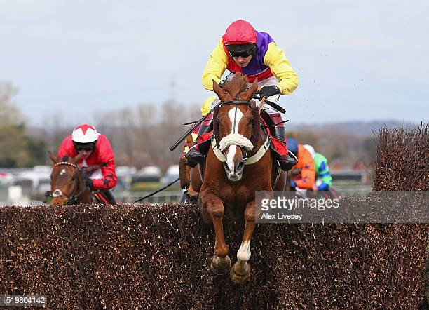 Native River ridden by Richard Johnson clears the last fence on their way to victory in the Betfred Mildmay Novices' Chase at Aintree Racecourse on...