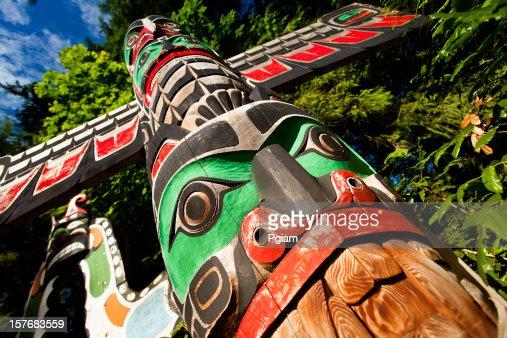 Native totem pole in BC