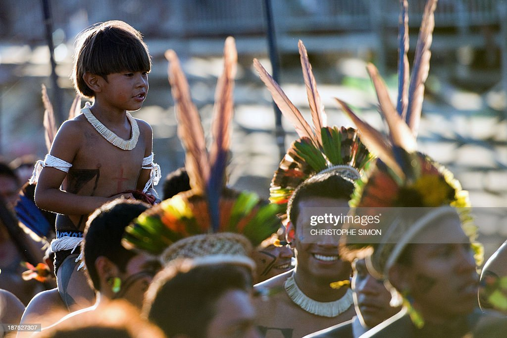 Natives parade during the opening ceremony of the International Games of Indigenous Peoples, in Cuiaba, state of Mato Grosso, on November 9, 2013. 48 Brazilian ethnic groups and indigenous representatives from 16 countries are taking part in the event which runs until November 16.