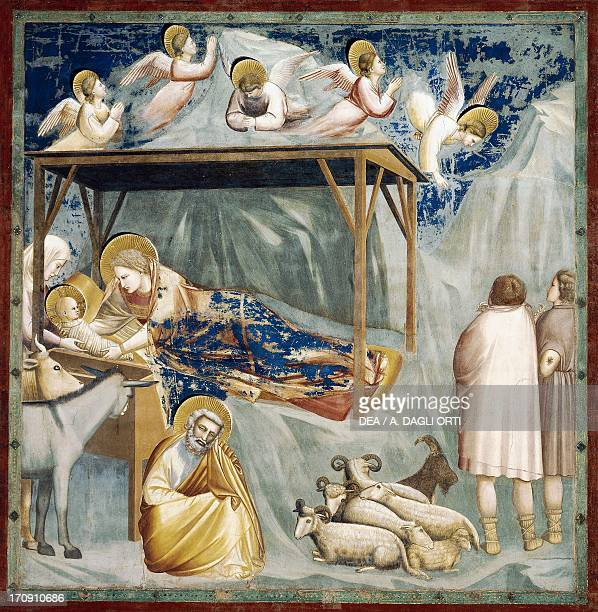 Nativity by Giotto detail from the cycle of frescoes Life and Passion of Christ 13031305 after the restoration in 2002 Scrovegni Chapel Padua Veneto...