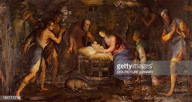 Nativity by Giovan Battista Gualtieri Altarpiece predella by Andrea Solario Certosa di Pavia Italy 17th century