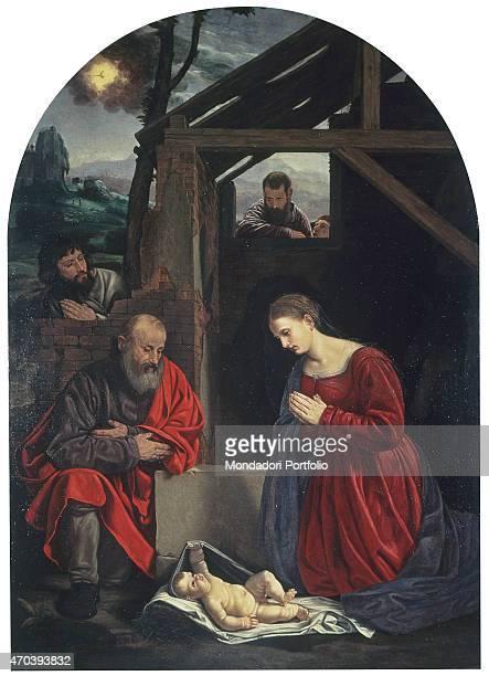 'Nativity by Giovanni Girolamo Savoldo 16th Century oil canvas Italy Veneto Venice Church of San Giobbe Whole artwork view Altarpiece representing a...