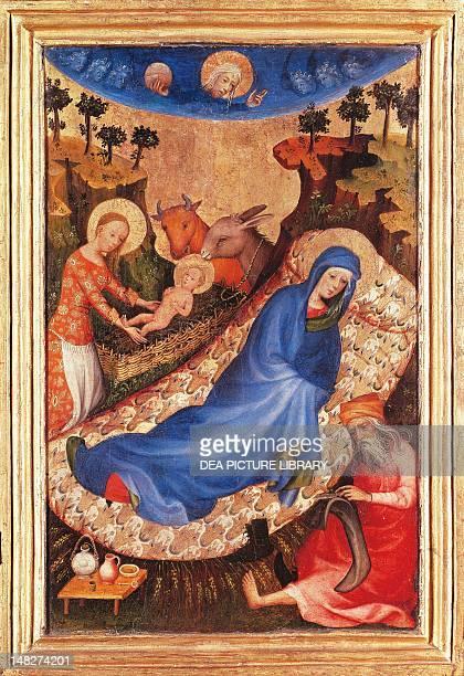 Nativity by Melchior Broederlam tempera on panel 27x38 cm Antwerp Museum Mayer Van Den Bergh