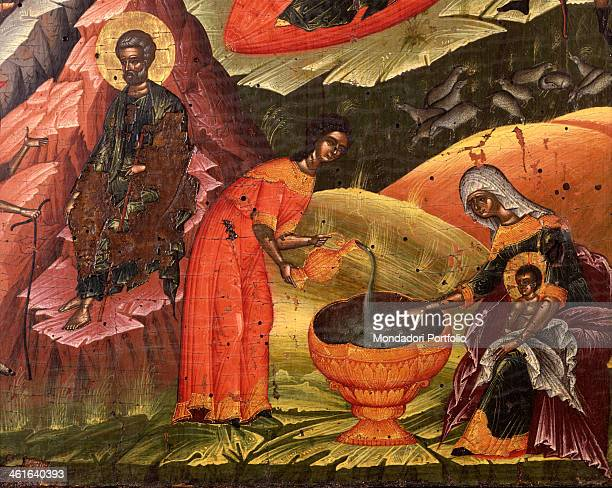 Nativity by Onufri 16th Century tempera on wood Albania Korça National Museum of Medioeval Art Detail Maid pours water into a source close to the...