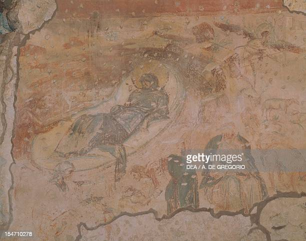 Nativity fresco by the Master of Castelseprio Church of Santa Maria Foris Portas Castelseprio Italy 9th century