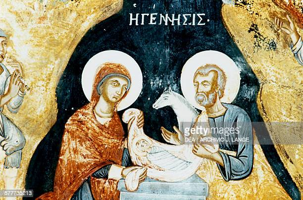 Nativity fresco in Mikro Sotiris monastery Symi island Greece