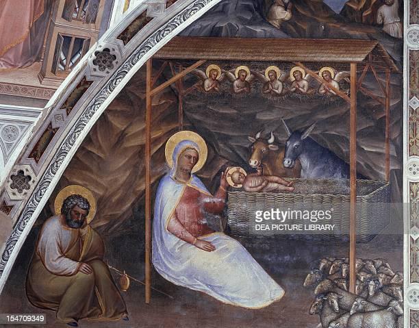 Nativity scene from New Testament stories 13751378 by Giusto de' Menabuoi fresco Baptistry of St John Padua Veneto Italy 14th century