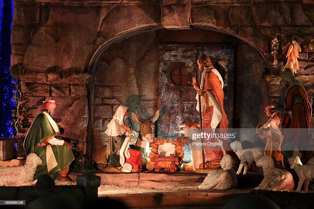 Nativity scene is seen in St Peter's Square during a Christmas tree switch on ceremony on December 19 2014 in Vatican City Vatican Pope Francis met...