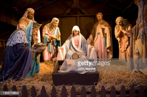 Nativity scene on the town common in Greenfield, MA : Stock Photo
