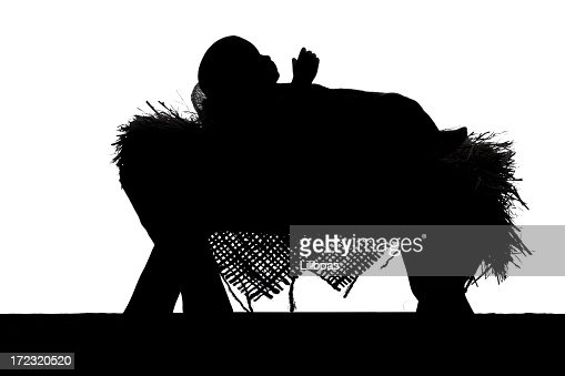 nativity scene silhouette on white stock photo