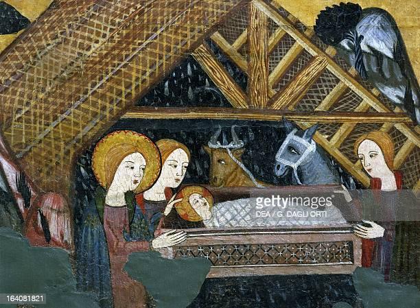 Nativity workshop of Seo D'Urgell 14th century altarpiece from Bellver de Cerdanya painting on wood Catalan Gothic art Vic Museu Episcopal