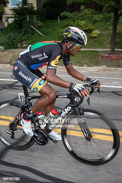 Natnael Berhane of the MTNQhubeka team during a solo breakaway during stage 5 of the Tour of Utah on August 7 2015 in Salt Lake City Utah