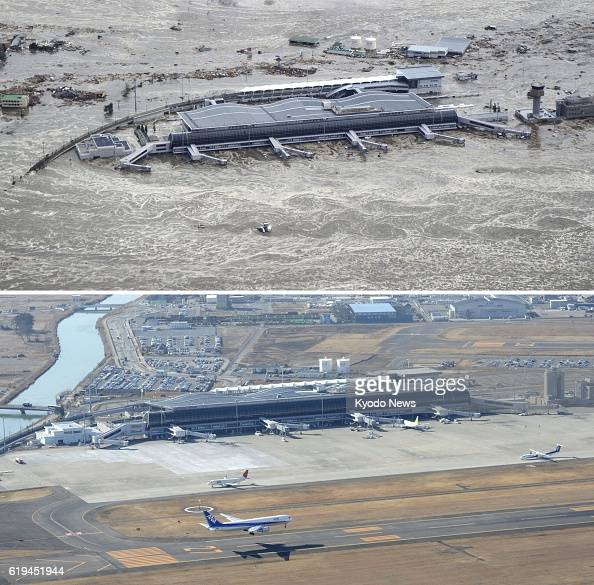 Natori Japan Aerial photos taken by Kyodo News show Sendai Airport in Miyagi Prefecture on March 11 the day of the massive earthquake and tsunami in...