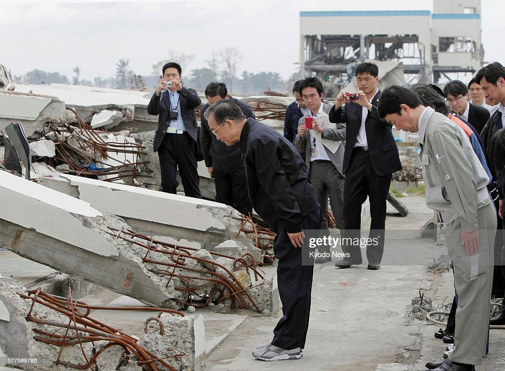 Natori Japan Chinese Premier Wen Jiabao offers a moment of silence for the victims of the March 11 2011 earthquake and tsunami at the disasterstruck...