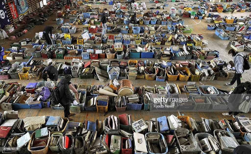 Natori Japan Items retrieved from areas devastated by the March 11 earthquake and tsunami are lined up on the floor of the gymnasium at Yuriage...