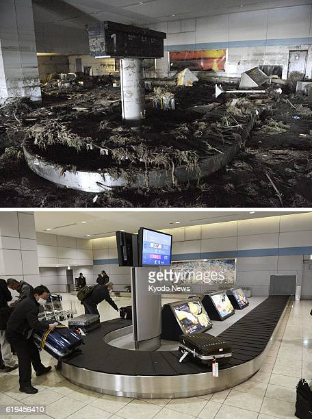 Natori Japan Photos show a baggage turnstile at Sendai Airport in Miyagi Prefecture on March 17 shortly after the March 11 earthquake and tsunami and...