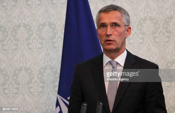 NATOs Secretary General Jens Stoltenberg speaks during a joint press conference with Afghan President and US Defense Secretary in Kabul Afghanistan...