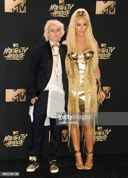 Nats Getty and Gigi Gorgeous pose in the press room at the 2017 MTV Movie and TV Awards at The Shrine Auditorium on May 7 2017 in Los Angeles...