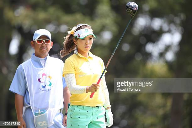 Natsuka Hori of Japan hits her tee shot on the 4th hole during the first round of Fujisankei Ladies Classic at the Kawana Hotel Golf Course Fuji...