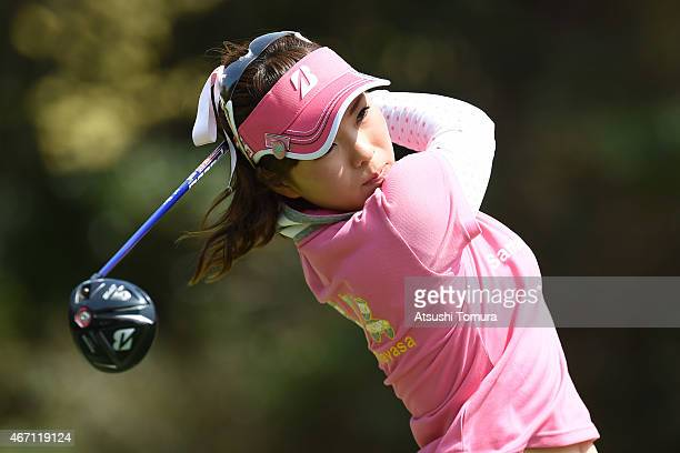 Natsuka Hori of Japan hits her tee shot on the 9th hole during the second round of the TPoint Ladies Golf Tournament at the Wakagi Golf Club on March...