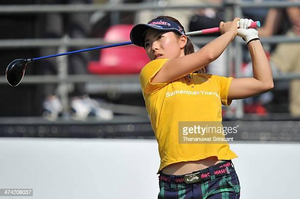 Natsuka Hori of Japan plays her shot during the third round of the Honda LPGA at Siam Country Club Pattaya on February 22 2014 in Chonburi Thailand