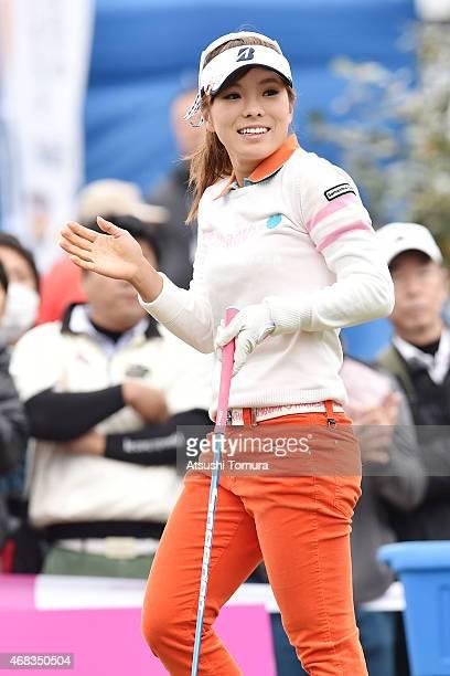 Natsuka Hori of Japan smiles during the first round of the YAMAHA Ladies Open Katsuragi at the Katsuragi Golf Club Yamana Course on April 2 2015 in...